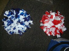 "2 - Full 10"" Red, White & Blue Cheerleader Pom Pon Poms Costume Football Lot Mm"