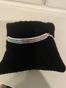 Avon Pastel Pave Bar Bracelet ~ Multi-color Stones, Silver Chain ~ New In Box