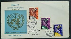 1970 Malta 25th Anniv. of the UN FDC SIGNED BY DESIGNER Joseph Casha