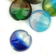 10pcs Lampwork Glass Flat Round Beads Handmade Jewelry Craft Assorted Color