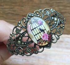 Pretty Vintage Style Filigree Bracelet/Floral/Birdcage Design/Boho/Cuff/Chunky