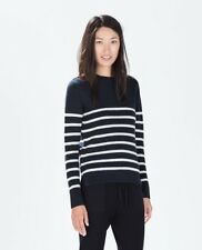 Zara Women Contrast Striped Sweater Knitwear Blue Size M NWT