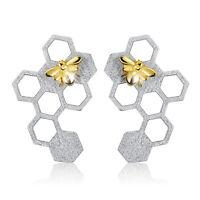 Lotus Fun Solid 925 Sterling Silver Jewelry 18K Gold Bee Drop Earrings for Women