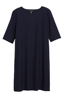 NEW NWT $238 Eileen Fisher Midnight Washable Crepe Zip Shift Dress PLUS SIZE 1X