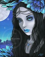 Gothic Fairy Moon Lotus Teal Purple Flower Nalin CANVAS Print Signed Myka Jelina