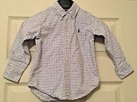 Ralph Lauren Boys White Blue Checked Long Sleeve Shirt Size 3/3T B17