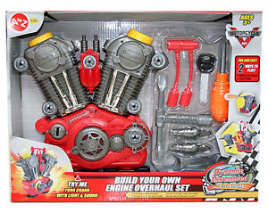 Build Your Own Motor Engine Toy Motorcycle Overhaul 20 Piece Set Light & Sound