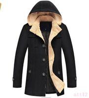 Mens Hooded Wool Blend Trench Peacoat Slim Fit Winter Warm Overcoat Coat Parka