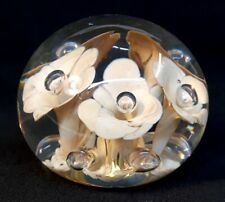 Boyd Art Glass Crystal Paperweight With Flowers Inside 1978 - 1983