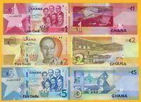 Ghana Set 1, 2, 5 Cedis 2017-2019 UNC Banknotes