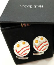 Paul Smith Bacon & OEUFS Boutons Manchette Avec Signature en relief T-Barre Fermeture balançoires