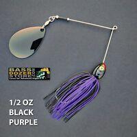 Bassdozer spinnerbaits THROBBER 1/2 oz BLACK PURPLE spinner bait lures