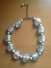Heavy chunky necklace silver brown beige colors