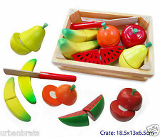 NEW Fun Factory Wooden Pretend Play Toy Kitchen Fruit in Crate