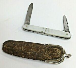 Herm Konejung Folding Pocket Pen Knife 2 Blade Mother Of Pearl Leather Snap Case