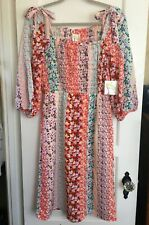 NWT ANTHROPOLOGIE FIG & FLOWER Boho Dress Lined Silky 3/4 Sl S M L Floral
