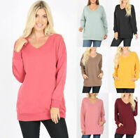 Women's Warm Fleece Lined Tunic Sweatshirt V-Neck Pockets Loose Oversized Top
