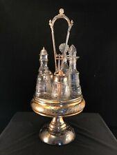 Antique Silver Plate & Etched Glass Condiment Set