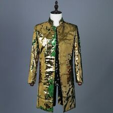 Men Reversible Two Tone Sequin Longline Jacket Suit Blazer Cabaret Carnival Tops