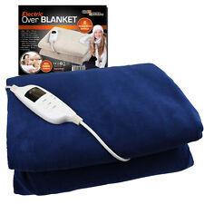Electric Over Blanket Soft Fleece Cotton Heated Warm Cozy Comfort Washable Gift Cream