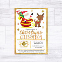 CHRISTMAS INVITATIONS PERSONALISED SANTA REINDEER GOLD PARTY INVITES XMAS