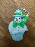 Kurt S. Adler Snowman Cupcake Blue Green with Sprinkles Christmas Tree Ornament