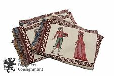 2 Williamsburg Goodwin Wevers Woven Coverlet Blanket with Colonial Figures Throw