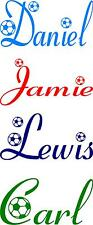 PERSONALISED NAME WITH FOOTBALLS - BEDROOM -  WALL -  VINYL STICKER - DECALS