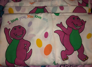 """Barney the Dinosaur Flat Bed Twin Sheet """"I Love You"""" Vintage 1992 - Craft Fabric"""