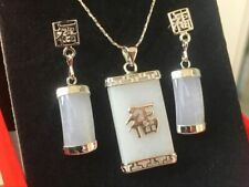 Hot Sell! Jewellery Hotan white jade necklace earring set