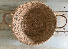Sweet Round wicker basket with Leather handles -For Any Decor!