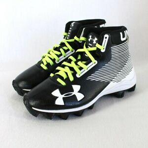 Under Armour High Top Cleats Youth Sz 2 Black White Green Laces Football Shoes