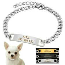 Personalized Dog Chain Collar Name ID Tag Engraved for Small Puppy Dog Chihuahua