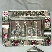 Vintage Souvenir Metal Ashtray New York Statue of Liberty Empire State RCA Bldg