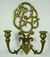 Vintage Hollywood Regency Brass Wall Decor Double Arm Taper Candle Stick Holder