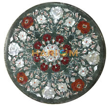 15'' Green Marble Top Round Table Handmade Mother Of Pearl Inaly Decors B264
