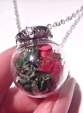 DRIED BOUQUET NECKLACE deep pink roses flowers moss glass jar bottle pendant E4
