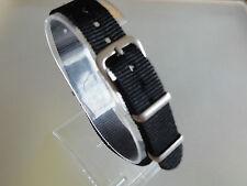Uhrenarmband Nylon SCHWARZ 14 mm NATO BAND Dornschließe Textil
