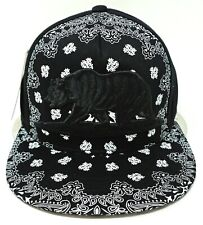 CALIFORNIA REPUBLIC Snapback Cap Hat Paisley Cali Bear Adult OSFM Black NWT
