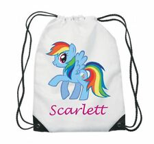 PERSONALISED GYM BAG, DRAWSTRING, SWIMMING, PE, SPORT, SCHOOL, ANY NAME, PONY 2
