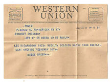 1950 Western Union Telegram - Delores Brown & Lee Richardson to Perform at Club