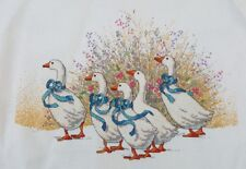 Finished Handmade Cross Stitch Needlepoint White Ducks Goose Unframed Completed