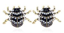 NEW Beetle Insect Vintage Gold Style Crystal Rhinestone Pearl Stud Earrings
