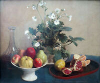 """oil painting on canvas """"Still Life: Flowers, Dish of Fruit, and Carafe  """""""