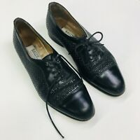 Vintage Bally Black Leather Lace Up Loafers, Size 8.5