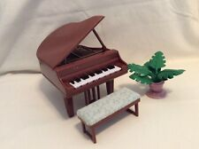 Fisher Price Loving Family Dollhouse Rare Grand Piano With Bench And Plant! M21