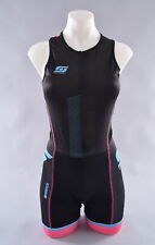 StageOne Pro Tri Suit Women's Large Black Blue Sleeveless Triathlon