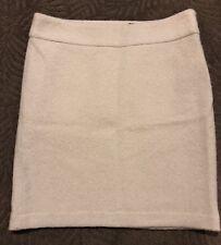 Monogram Banana Republic Boucle Lady Pencil Skirt Lined, Ivory, Zip Side Sz 12