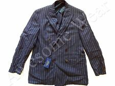 New Ralph Lauren Polo Navy Double Breasted Flax Wool Sport Coat Jacket SLIM 44 L