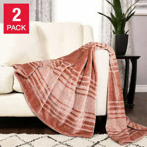 Life Comfort Eco Striped Plush Throw, 2-pack (Select Color) * FAST SHIPPING *
